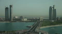 View of city and sea from height in Abu Dhabi - stock footage
