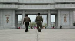 Pyongyang, Heroes monument, North Korea Stock Footage