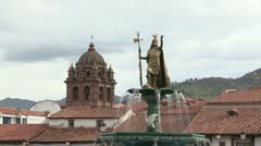 Statue in Cuzco Plaza Stock Footage