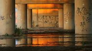 Stock Video Footage of Urban Graffiti Bridge