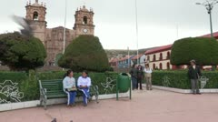 Peru: Central Plaza in Puno Stock Footage
