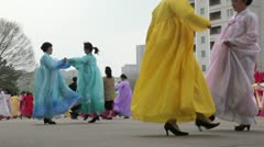 Pyongyang mass street dancing, North Korea - stock footage
