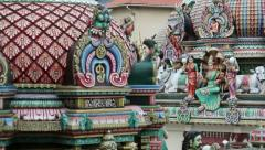 Gopuram of the Sri Mariamman Temple in Singapore Stock Footage