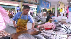 Peru: Cleaning the Fish Stock Footage