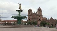 Stock Video Footage of Peru: Wide Shot of Plaza in Cuzco