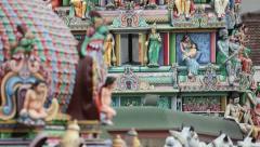 Gopuram of the Sri Mariamman Temple in Singapore Stock Footage