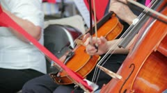 Musician playing on a contrabass - stock footage