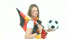 Soccer Fan with flag and ball Stock Footage