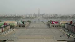 Pyongyang, Juche tower, North Korea Stock Footage