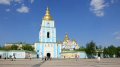 Timelapse 1080p: People by Mikhailovsky Monastery in Kiev, Ukraine Stock Footage