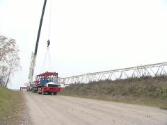 Crane worker windmill Stock Footage