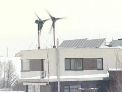 Windmill solar panel roof Stock Footage