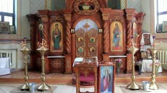 Interior of small orthodox church Stock Footage