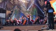A big orchestra live in concert on stage Stock Footage