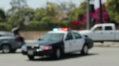 LAPD Police Cruiser Roadblock - stock footage