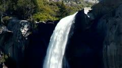 Yosemite Bridalveil Falls Over Cliff Close Up Stock Footage