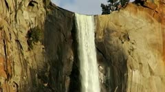 Yosemite Sentinel Falls Over Cliff Close Up Stock Footage