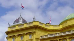 Croatian national theater building made in 1895, in Zagreb Stock Footage
