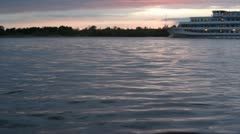 ship on the river - stock footage