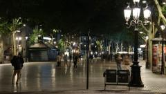 Stock Video Footage of La Rambla, Barcelona