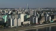 Pyongyang, City skyline and Ryugyong Hotel, North Korea Stock Footage