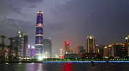 Guangzhou skyline and Pearl river at night Stock Footage