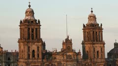 Zocalo cathedral mexico city Stock Footage