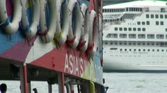 Colorful Star Ferry cruiseship in Hong Kong Stock Footage