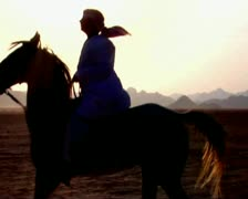 VJ83 Bedouin riding a white horse Stock Footage