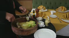 Stock Video Footage of caesar salad french chef classic