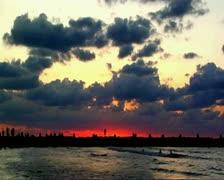 VJ104 vj loop sunset in Tel-Aviv Stock Footage