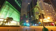 Singapore street at night, timelapse in motion Stock Footage