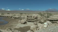 Chile Atacama stream bed and boulders 3a Stock Footage