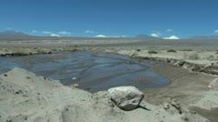 Chile Atacama muddy stream bed 3 Stock Footage