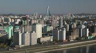 Pyongyang, City skyline & Ryugyong Hotel, North Korea Stock Footage