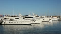 Luxury yachts in the marina of Alicante, Spain Stock Footage