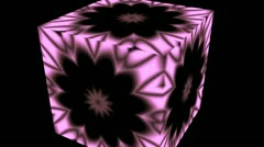 Changing flower (pattern) in a rotating cube Stock Footage