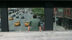 Tourist at the Highline in Manhattan New York Stock Video - stock footage