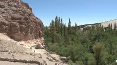 Chile Atacama Valle de Jere walls at rock base Stock Footage