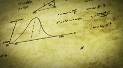 Math physics formulas on old paper tilting loop Stock Footage