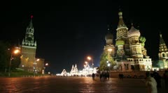 Kremlin and temple on Red square in Moscow Stock Footage