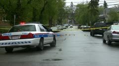 Crime scene, police and tape, serious assault Stock Footage