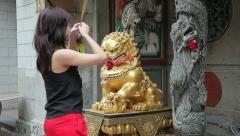Woman Praying at Temple, Singapore Stock Footage