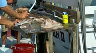 Stock Video Footage of Filleting and cleaning freshly caught deep sea fish