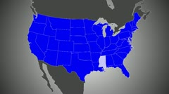 Map-US-MS Zoom 24fps Stock Footage