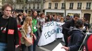 Stock Video Footage of Paris, France, French High School Students Protest Against Austerity