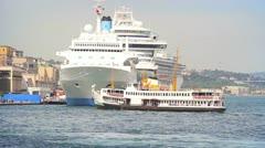 View of Karakoy Harbour Stock Footage