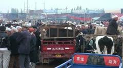 Sunday livestock market in Kashgar, China Stock Footage