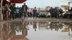 Tricycle with sheep drives through a pool at the Sunday market in Kashgar Stock Footage