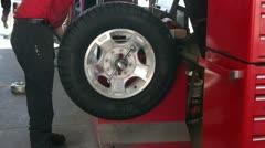Wheel tire balance equipment fast time lapse P HD 0024 Stock Footage